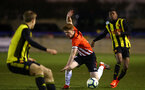 LONDON, ENGLAND - JANUARY 17:  Kameron Ledwidge is tripped (middle) during  the FA Youth Cup match between Watford FC and Southampton FC on January 17, 2019 in Watford, United Kingdom. (Photo by James Bridle - Southampton FC/Southampton FC via Getty Images)