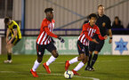 LONDON, ENGLAND - JANUARY 17:  Caleb Watts (right) during a  FA Youth Cup match between Watford FC and Southampton FC on January 17, 2019 in Watford, United Kingdom. (Photo by James Bridle - Southampton FC/Southampton FC via Getty Images)