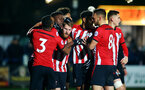 LEEDS, ENGLAND - JANUARY 21:  Josh Sims scores and celebrates with team mates, Harry Hamblin Will Smallbone, Marcus Barnes, Tyreke Johnson during the PL CUP match between Leeds United vs Southampton FC on January 21, 2019 in Watford, United Kingdom. (Photo by James Bridle - Southampton FC/Southampton FC via Getty Images)