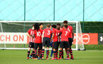 SOUTHAMPTON, ENGLAND - JANUARY 26: Players huddle ahead of the Under 18s match between Southampton FC and Fulham FC pictured at Staplewood Complex on January 26, 2019 in Southampton, England. (Photo by James Bridle - Southampton FC/Southampton FC via Getty Images)