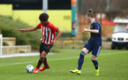SOUTHAMPTON, ENGLAND - JANUARY 26: Caleb Watts (left) during the Under 18s match between Southampton FC and Fulham FC pictured at Staplewood Complex on January 26, 2019 in Southampton, England. (Photo by James Bridle - Southampton FC/Southampton FC via Getty Images)