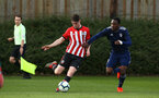 SOUTHAMPTON, ENGLAND - JANUARY 26: Will Ferry  (left) during the Under 18s match between Southampton FC and Fulham FC pictured at Staplewood Complex on January 26, 2019 in Southampton, England. (Photo by James Bridle - Southampton FC/Southampton FC via Getty Images)
