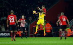 SOUTHAMPTON, ENGLAND - JANUARY 30: Jan Bednarek(R) of Southampton and Jordan Ayew of Crystal Palace during the Premier League match between Southampton FC and Crystal Palace at St Mary's Stadium on January 30, 2019 in Southampton, United Kingdom. (Photo by Matt Watson/Southampton FC via Getty Images)
