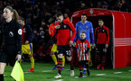 SOUTHAMPTON, ENGLAND - JANUARY 30: Pierre-Emile Hojbjerg leads the teams out with the matchday mascot during the Premier League match between Southampton FC and Crystal Palace at St Mary's Stadium on January 30, 2019 in Southampton, United Kingdom. (Photo by Matt Watson/Southampton FC via Getty Images)