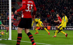 SOUTHAMPTON, ENGLAND - JANUARY 30: James Ward-Prowse of Southampton strikes to make it 1-1 during the Premier League match between Southampton FC and Crystal Palace at St Mary's Stadium on January 30, 2019 in Southampton, United Kingdom. (Photo by Matt Watson/Southampton FC via Getty Images)