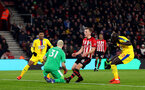 SOUTHAMPTON, ENGLAND - JANUARY 30: James Ward-Prowse of Southampton misses an opportunity during the Premier League match between Southampton FC and Crystal Palace at St Mary's Stadium on January 30, 2019 in Southampton, United Kingdom. (Photo by Matt Watson/Southampton FC via Getty Images)