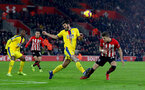 SOUTHAMPTON, ENGLAND - JANUARY 30: James Tomkins(L) of Crystal Palace and Jan Bednarek of Southampton during the Premier League match between Southampton FC and Crystal Palace at St Mary's Stadium on January 30, 2019 in Southampton, United Kingdom. (Photo by Matt Watson/Southampton FC via Getty Images)