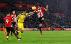 SOUTHAMPTON, ENGLAND - JANUARY 30: Scott Dann(L) of Crystal Palace and Jan Bednarek of Southampton during the Premier League match between Southampton FC and Crystal Palace at St Mary's Stadium on January 30, 2019 in Southampton, United Kingdom. (Photo by Matt Watson/Southampton FC via Getty Images)