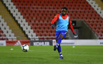 LEIGH, GREATER MANCHESTER - FEBRUARY 01:  Jonathan Afolabi ahead of kick off for the PL2 match between Manchester United and Southampton FC pictured at Leigh Sports Village on February 01, 2019 in Leigh, Greater Manchester. (Photo by James Bridle - Southampton FC/Southampton FC via Getty Images)