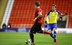 LEIGH, GREATER MANCHESTER - FEBRUARY 01:  Jake Vokins (right) during the PL2 match between Manchester United and Southampton FC pictured at Leigh Sports Village on February 01, 2019 in Leigh, Greater Manchester. (Photo by James Bridle - Southampton FC/Southampton FC via Getty Images)