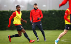 SOUTHAMPTON, ENGLAND - FEBRUARY 05: LtoR Kayne Ramsay, Mohamed Elyounoussi during a Southampton FC  training session at Staplewood Complex on February 05, 2019 in Southampton, England. (Photo by James Bridle - Southampton FC/Southampton FC via Getty Images)