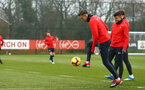 SOUTHAMPTON, ENGLAND - FEBRUARY 05: Jan Bednarek (right) during a Southampton FC  training session at Staplewood Complex on February 05, 2019 in Southampton, England. (Photo by James Bridle - Southampton FC/Southampton FC via Getty Images)