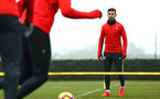 SOUTHAMPTON, ENGLAND - FEBRUARY 05: Shane Long (right) during a Southampton FC  training session at Staplewood Complex on February 05, 2019 in Southampton, England. (Photo by James Bridle - Southampton FC/Southampton FC via Getty Images)