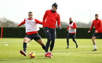 SOUTHAMPTON, ENGLAND - FEBRUARY 06: LtoR Oriol Romeu, Pierre-Emile Hojbjerg during a Southampton FC training session at Staplewood Complex on February 06, 2019 in Southampton, England. (Photo by James Bridle - Southampton FC/Southampton FC via Getty Images)