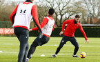SOUTHAMPTON, ENGLAND - FEBRUARY 06: Charlie Austin (right) during a Southampton FC training session at Staplewood Complex on February 06, 2019 in Southampton, England. (Photo by James Bridle - Southampton FC/Southampton FC via Getty Images)