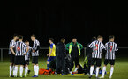 NEWCASTLE, ENGLAND - FEBRUARY 08: Newcastle player required medical assistance during a PLCUP match between Southampton FC and Newcastle United pictured at Northumberland County FA on February 08, 2019 in Newcastle, England. (Photo by James Bridle - Southampton FC/Southampton FC via Getty Images)