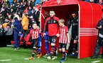 SOUTHAMPTON, ENGLAND - FEBRUARY 09: Pierre-Emile Hojbjerg leads the teams out with the matchday mascots during the Premier League match between Southampton FC and Cardiff City at St Mary's Stadium on February 09, 2019 in Southampton, United Kingdom. (Photo by Matt Watson/Southampton FC via Getty Images)