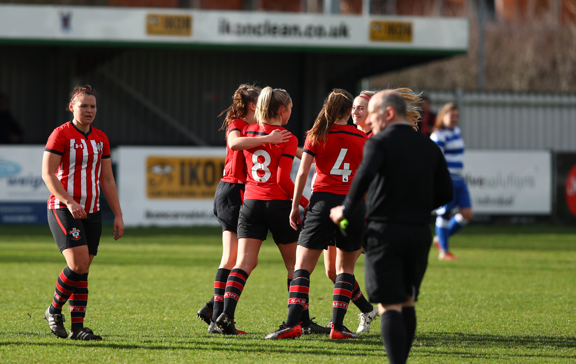 Southampton celebrate scoring their first goal during the Southern Region Women's Premier League match between Southampton and Oxford City, The Westwood Stadium, AFC Totton, Totton, Southampton, 10th February 2019