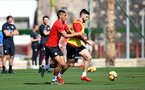 TENERIFE, SPAIN - FEBRUARY 12: Yan Valery(L) and Shane Long on day 2 of Southampton FC's winter training Camp, on February 12, 2019 in Tenerife, Spain. (Photo by Matt Watson/Southampton FC via Getty Images)