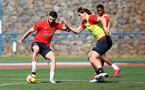 TENERIFE, SPAIN - FEBRUARY 12: Charlie Austin(L) and Jannik Vestergaard on day 2 of Southampton FC's winter training Camp, on February 12, 2019 in Tenerife, Spain. (Photo by Matt Watson/Southampton FC via Getty Images)