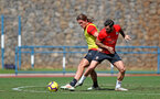 TENERIFE, SPAIN - FEBRUARY 12: Jannik Vestergaard(L) and Charlie Austin on day 2 of Southampton FC's winter training Camp, on February 12, 2019 in Tenerife, Spain. (Photo by Matt Watson/Southampton FC via Getty Images)