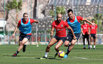 TENERIFE, SPAIN - FEBRUARY 13: L to R Oriol Romeu, Nathan Redmond and Maya Yoshida on day 3 of Southampton FC's winter training camp on February 13, 2019 in Tenerife, Spain. (Photo by Matt Watson/Southampton FC via Getty Images)