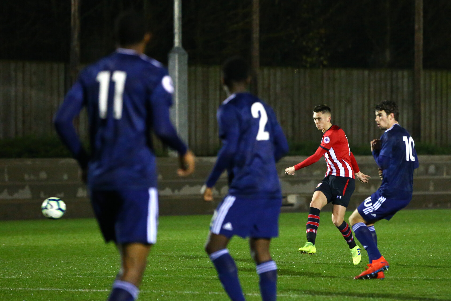 SOUTHAMPTON, ENGLAND - FEBRUARY 15: Will Smallbone of Southampton FC (right) scores during the U23s PL2 match between Southampton FC and Fulham FC pictured at Staplewood Complex on February 15, 2019 in Southampton, England. (Photo by James Bridle - Southampton FC/Southampton FC via Getty Images)