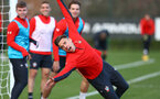Jan Bednarek during a Southampton FC training session at the Staplewood Campus, Southampton, 19th February 2019