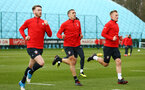 SOUTHAMPTON, ENGLAND - FEBRUARY 20: LtoR Callum Slattery, Oriol Romeu, James Ward-Prowse during a Southampton FC training session pictured at Staplewood Complex on February 20, 2019 in Southampton, England. (Photo by James Bridle - Southampton FC/Southampton FC via Getty Images)
