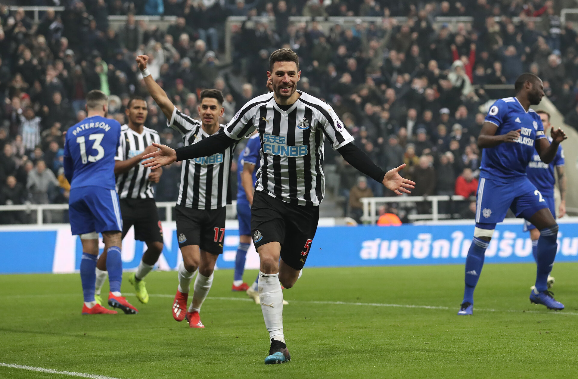 NEWCASTLE UPON TYNE, ENGLAND - JANUARY 19: Fabian Schar of Newcastle United celebrates after he scores his sides third goal during the Premier League match between Newcastle United and Cardiff City at St. James Park on January 19, 2019 in Newcastle upon Tyne, United Kingdom. (Photo by Ian MacNicol/Getty Images)