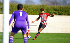 SOUTHAMPTON, ENGLAND - FEBRUARY 23:  Christian Norton (right) during the U18's premier league match between Southampton FC and Arsenal FC pictured in Southampton, England. (Photo by James Bridle - Southampton FC/Southampton FC via Getty Images)