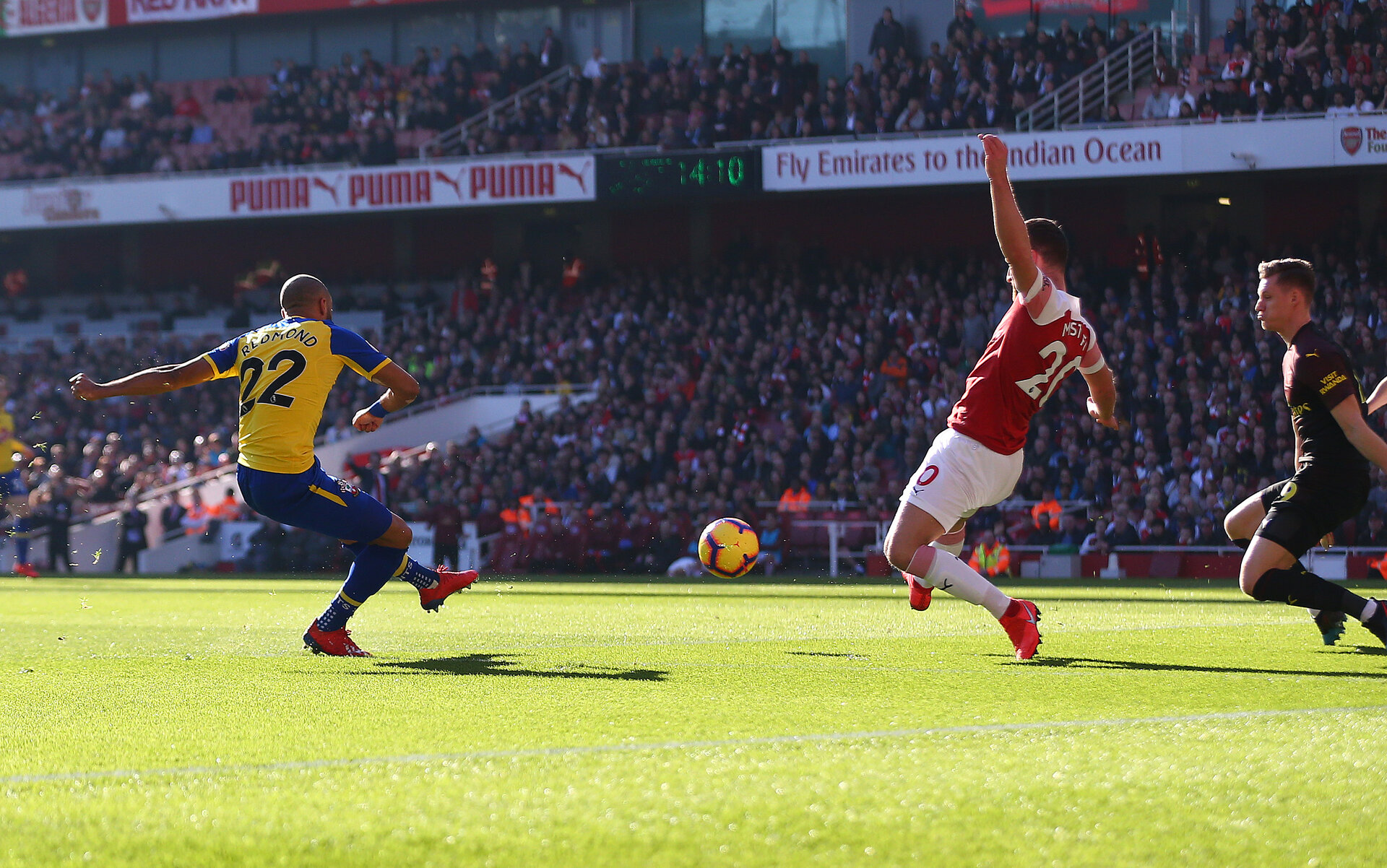 LONDON, ENGLAND - FEBRUARY 24: Nathan Redmond(L) of Southampton shoots at goal as his shot is saved by Bernd Leno during the Premier League match between Arsenal FC and Southampton FC at Emirates Stadium on February 24, 2019 in London, United Kingdom. (Photo by Matt Watson/Southampton FC via Getty Images)