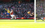 LONDON, ENGLAND - FEBRUARY 24: Bernd Leno of Arsenal saves from Matt Targett during the Premier League match between Arsenal FC and Southampton FC at Emirates Stadium on February 24, 2019 in London, United Kingdom. (Photo by Matt Watson/Southampton FC via Getty Images)