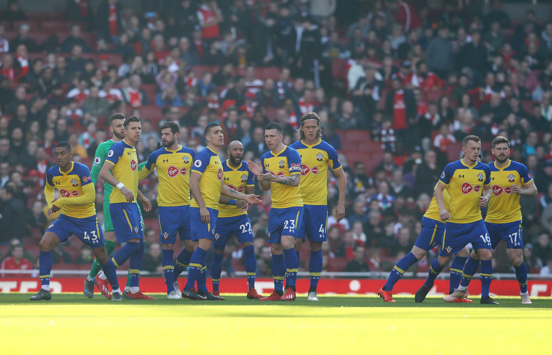 LONDON, ENGLAND - FEBRUARY 24: Players of Southampton during the Premier League match between Arsenal FC and Southampton FC at Emirates Stadium on February 24, 2019 in London, United Kingdom. (Photo by Matt Watson/Southampton FC via Getty Images)