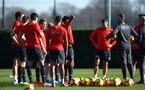 SOUTHAMPTON, ENGLAND - FEBRUARY 25:  Players meet during a Southampton FC training session pictured at Staplewood Training Ground in Southampton, England.  (Photo by James Bridle - Southampton FC/Southampton FC via Getty Images)