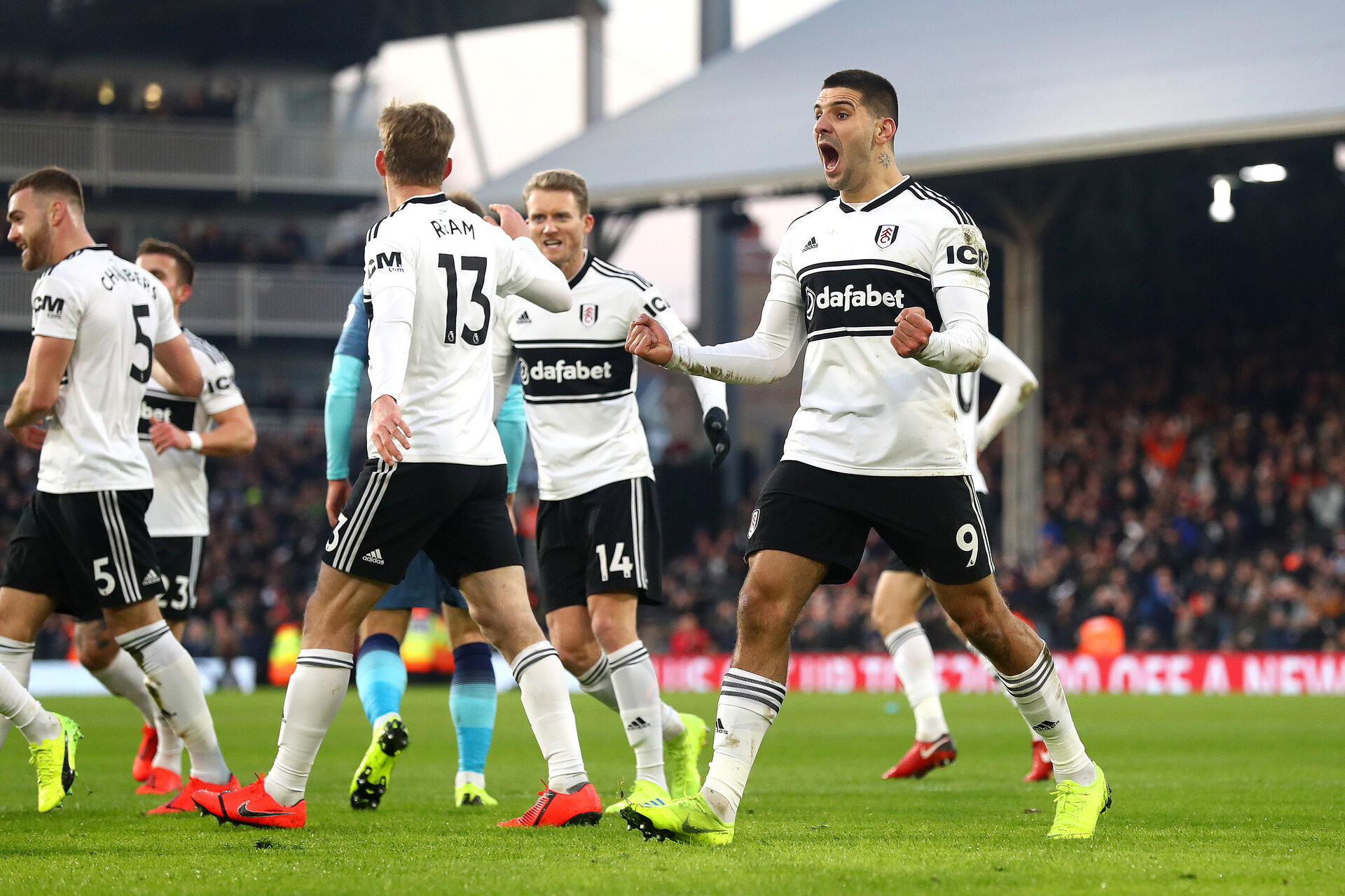 LONDON, ENGLAND - JANUARY 20:  Aleksandar Mitrovic celebrates his sides first goal, an own goal scores by Fernano Llorente of Tottenham (Not pictured) during the Premier League match between Fulham FC and Tottenham Hotspur at Craven Cottage on January 20, 2019 in London, United Kingdom. (Photo by Clive Rose/Getty Images)