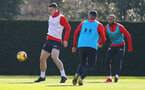 SOUTHAMPTON, ENGLAND - FEBRUARY 26: Pierre-Emile Hojbjerg(L) during a Southampton FC training session at the Staplewood Campus on February 26, 2019 in Southampton, England. (Photo by Matt Watson/Southampton FC via Getty Images)