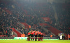 SOUTHAMPTON, ENGLAND - FEBRUARY 27: Saints players huddle during the Premier League match between Southampton FC and Fulham FC at St Mary's Stadium on February 27, 2019 in Southampton, United Kingdom. (Photo by Matt Watson/Southampton FC via Getty Images)