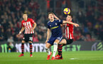 SOUTHAMPTON, ENGLAND - FEBRUARY 27: Pierre-Emile Hojbjerg(R) of Southampton and Tom Cairney of Fulham during the Premier League match between Southampton FC and Fulham FC at St Mary's Stadium on February 27, 2019 in Southampton, United Kingdom. (Photo by Matt Watson/Southampton FC via Getty Images)
