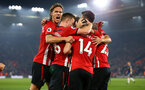 SOUTHAMPTON, ENGLAND - FEBRUARY 27:  Oriol Romeu of Southampton FC scores and celebrates with Jannik Vestergaard, James Ward-Prowse, Nathan Redmond during the Premier League match between Southampton FC and Fulham FC at St Mary's Stadium on February 27, 2019 in Southampton, United Kingdom. (Photo by James Bridle - Southampton FC/Southampton FC via Getty Images)