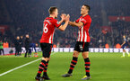 SOUTHAMPTON, ENGLAND - FEBRUARY 27:  James Ward-Prowse scores (left) and celebrated with Oriol Romeu (right) during the Premier League match between Southampton FC and Fulham FC at St Mary's Stadium on February 27, 2019 in Southampton, United Kingdom. (Photo by James Bridle - Southampton FC/Southampton FC via Getty Images)