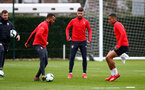 SOUTHAMPTON, ENGLAND - MARCH 01: L to R Ryan Bertrand, Shane Long and Yan Valery during a Southampton FC training session at the Staplewood Campus on March 01, 2019 in Southampton, England. (Photo by Matt Watson/Southampton FC via Getty Images)