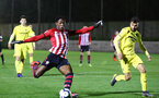 SOUTHAMPTON, ENGLAND - MARCH 06: Dan Nlundulu shoots towards goal (left) during the U23's International Cup match between Southampton FC vs Villarreal pictured at Staplewood Complex on March 06, 2019 in Southampton, England. (Photo by James Bridle - Southampton FC/Southampton FC via Getty Images)