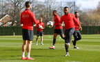 SOUTHAMPTON, ENGLAND - MARCH 07:  LtoR Shane Long, Ryan Bertrand during a Southampton FC training session pictured at Staplewood Complex on March 07, 2019 in Southampton, England. (Photo by James Bridle - Southampton FC/Southampton FC via Getty Images)