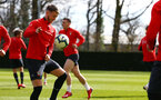 SOUTHAMPTON, ENGLAND - MARCH 07:  Callum Slattery (left) during a Southampton FC training session pictured at Staplewood Complex on March 07, 2019 in Southampton, England. (Photo by James Bridle - Southampton FC/Southampton FC via Getty Images)