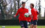 SOUTHAMPTON, ENGLAND - MARCH 07:  Alfie Jones (middle) during a Southampton FC training session pictured at Staplewood Complex on March 07, 2019 in Southampton, England. (Photo by James Bridle - Southampton FC/Southampton FC via Getty Images)