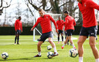 SOUTHAMPTON, ENGLAND - MARCH 07:  James Ward-Prowse (left) during a Southampton FC training session pictured at Staplewood Complex on March 07, 2019 in Southampton, England. (Photo by James Bridle - Southampton FC/Southampton FC via Getty Images)