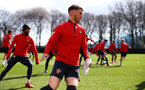 SOUTHAMPTON, ENGLAND - MARCH 07:  Callum Slattery (middle) during a Southampton FC training session pictured at Staplewood Complex on March 07, 2019 in Southampton, England. (Photo by James Bridle - Southampton FC/Southampton FC via Getty Images)
