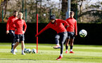 SOUTHAMPTON, ENGLAND - MARCH 07:  Nathan Redmond (middle) during a Southampton FC training session pictured at Staplewood Complex on March 07, 2019 in Southampton, England. (Photo by James Bridle - Southampton FC/Southampton FC via Getty Images)