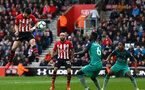 SOUTHAMPTON, ENGLAND - MARCH 09:  Shane Long of Southampton (left) heads the ball towards goal during the Premier League match between Southampton FC and Tottenham Hotspur at St Mary's Stadium on March 09, 2019 in Southampton, United Kingdom. (Photo by James Bridle - Southampton FC/Southampton FC via Getty Images)